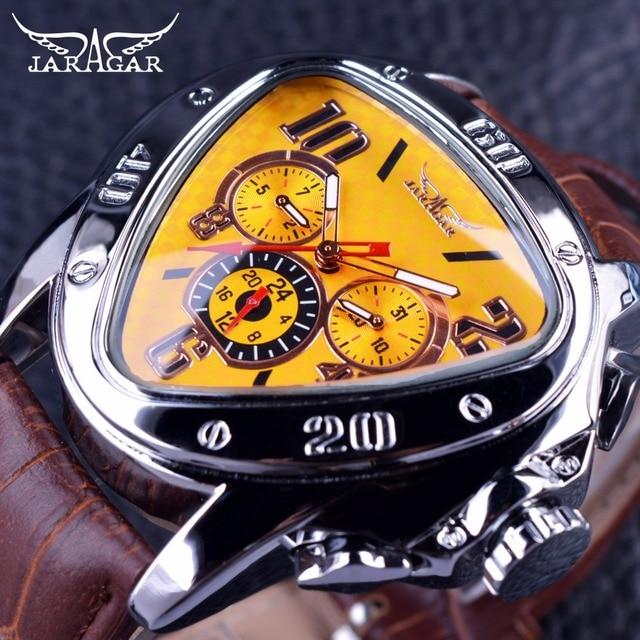 JARAGAR Спорт Мода Дизайн геометрический Треугольники случае коричневый кожаный ремешок 3 набора Для мужчин часы лучший бренд класса люкс автоматические часы