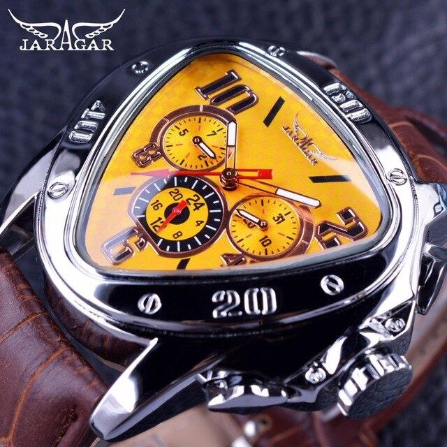 Jaragar الرياضة موضة تصميم هندسي مثلث حالة براون حزام من الجلد 3 الطلب الرجال مشاهدة العلامة التجارية الفاخرة ساعة أوتوماتيكية على مدار الساعة