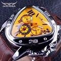Jaragar Deporte Moda Diseño Geométrico Triángulo Caso Brown Leather Strap 3 Dial Reloj de Los Hombres de Primeras Marcas de Lujo Reloj Automático Reloj
