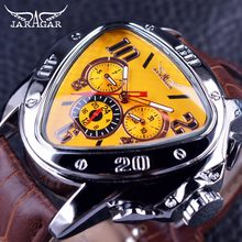 Jaragar Esporte Design de Moda Geométrica Triângulo Caso Brown Leather Strap 3 Dial Men Watch Top Marca de Luxo Relógio Relógio Automático(China)