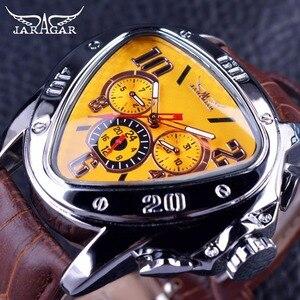 Image 1 - Jaragar Sport Mode Design Geometrische Dreieck Fall Braun Lederband 3 Zifferblatt Männer Uhr Top Marke Luxus Automatische Uhr Uhr