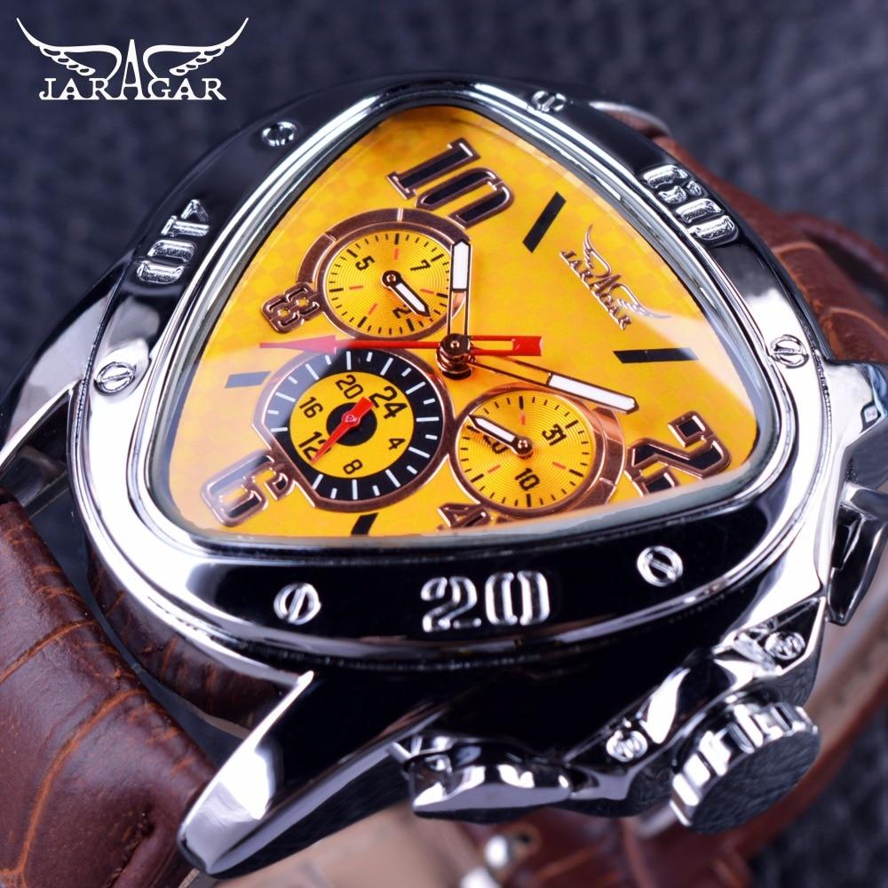 Jaragar Sport Fashion Design Geometric Triangle Case Brown Leather Strap 3 Dial Men Watch Top Brand Luxury Automatic Watch Clock