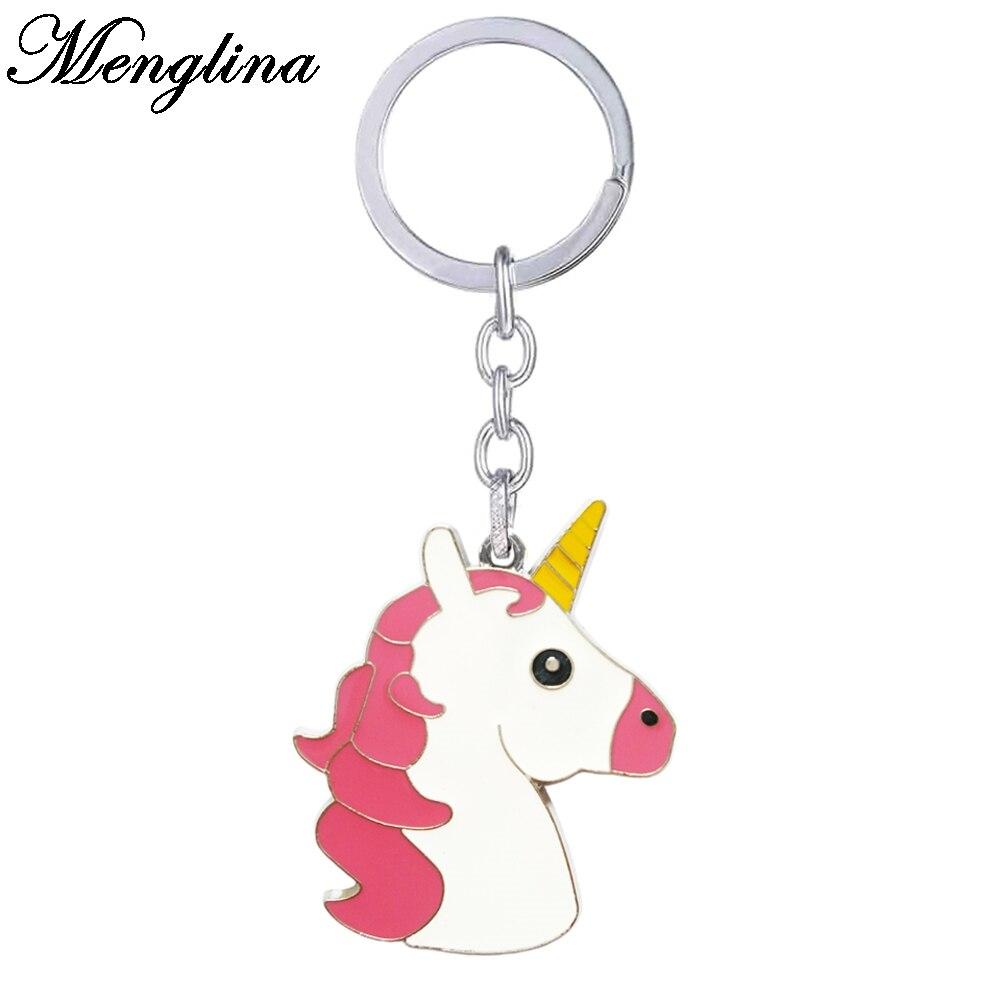Menglina Fashion Metal Cartoon Unicorn Keychains Enamel Cute Horse Key Ring Women Handbag Accessories Llaveros Animales 170816