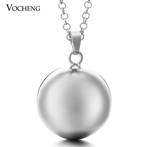 Image 4 - 10pcs/lot Vocheng Baby Chime Round Jewelry Pendant Necklace with Stainless Steel Chain VA 054*10 Free Shipping