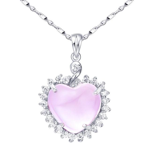 Natural Rose Quartz 6 Carats Heart Pendant Necklace 925 Sterling Silver Woman Fine Gem Jewel Girl Pink Crystal Valentine Gift