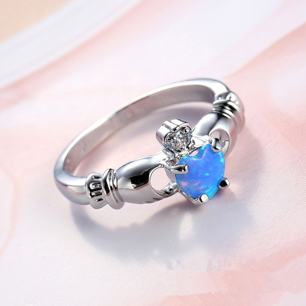 Elegant Heart Cut Blue Crystal Ring Fashion Wedding Jewelry Filled Engagement Promise Rings Size 6,7,8,9,10 Free Shipping