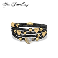 Her Jewellery trendy Genuine Faux Leather luckly Heart bracelets bangles Made with crystals from Swarovski HB0076