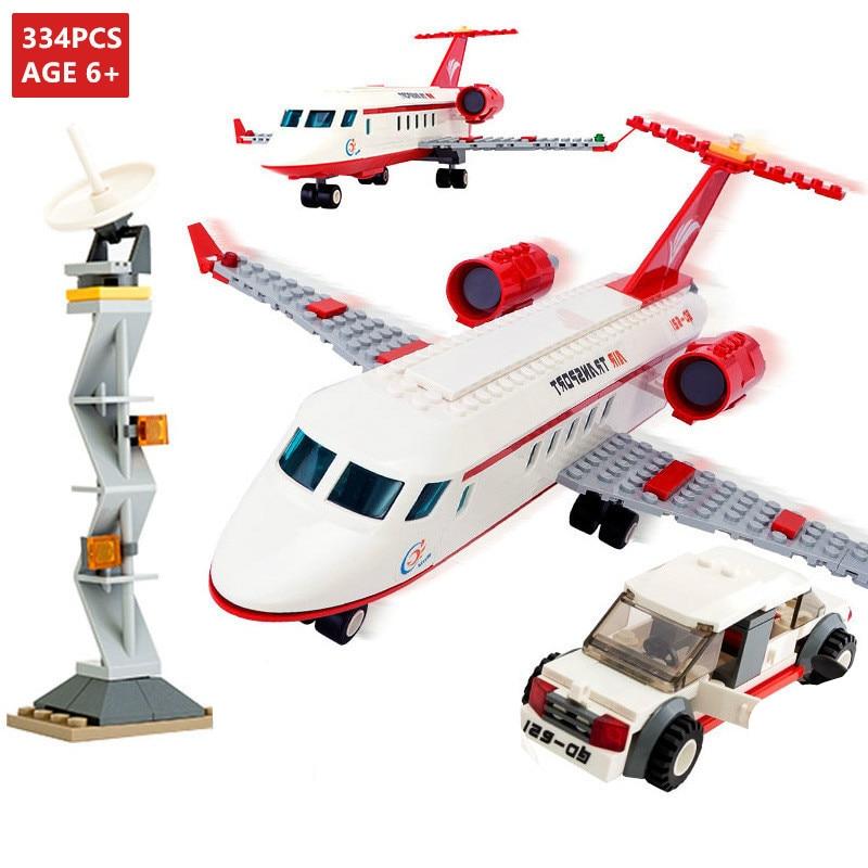 334PCS Cidade Ônibus com Ar De Avião Avião Tijolos Blocos de Construção Define Avion Técnica Figuras DIY Criador LegoINGLs Brinquedos Presentes de Natal