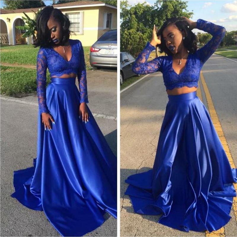 Long Royal Blue Mermaid Prom Dresses 2019 Black Girl