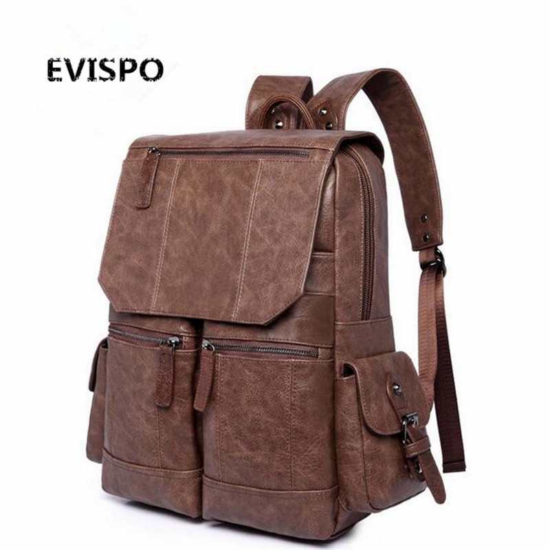 ФОТО  Men Business Casual Backpacks for School Travel Bag Black PU Leather Men's Fashion Shoulder Bags Vintage Boys Men Backpack