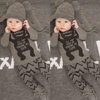 Baby Boy Clothes Set Infant Boys Gray Bear Shirt Chenvron Pants 2 Pieces Clothing Set Newborn Boy Outfit Clothes