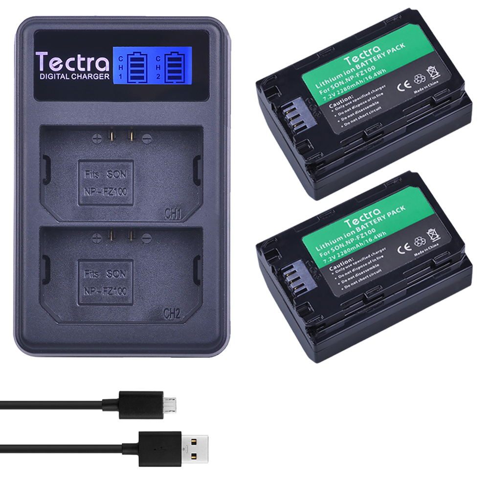 2 x NP FZ100 NP-FZ100 NPFZ100 batterie + LCD USB Double Chargeur pour Sony ILCE-9, BC-QZ1, a7r3, a7RIII, ILCE-7RM3, A9R, 7RM3, caméra
