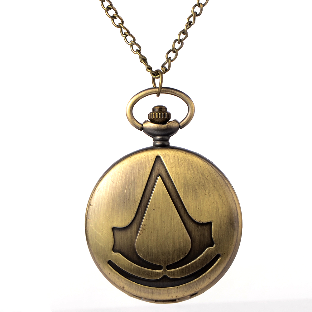 Cindiry New Bronze Assassin's Creed Sci-Fi Movie Quartz Pocket Watch Analog Pendant Necklace Mens Womens Watches Chain Gift P19 high quality wireless gsm sms pstn anti thief alarme maison with pet immune pir sensor free shipping