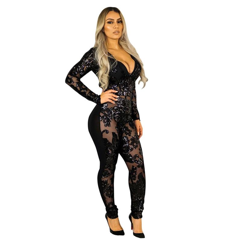 0ecd1757b3a HomeJumpsuitsSee Through Black Sequin Jumpsuit. -45%. 🔍. 1  2