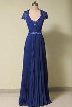 2015 blau chiffon prom kleider gefaltet Ärmel pailletten sahes bodenlangen abend formale kleid für die hochzeit