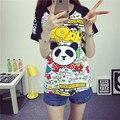 2016-Manga Curta tshirt Ocasional Coreano Verão Solto Estudante Harajuku Estilo Bonito Dos Desenhos Animados Mickey Impresso T-Shirts Plus Size Mulheres