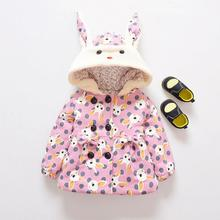Baby Girls Jacket Children Winter Warm Cartoon Rabbit Ears Hooded Dot Long Sleeve Coat Thicken Outerwear Children Clothing