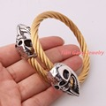 High Quality 316L Stainless Steel Gold Tone Cable Wire Chain Twisted Silver Skull Cuff Bangle Mens Boys Bracelet Christmas Gift