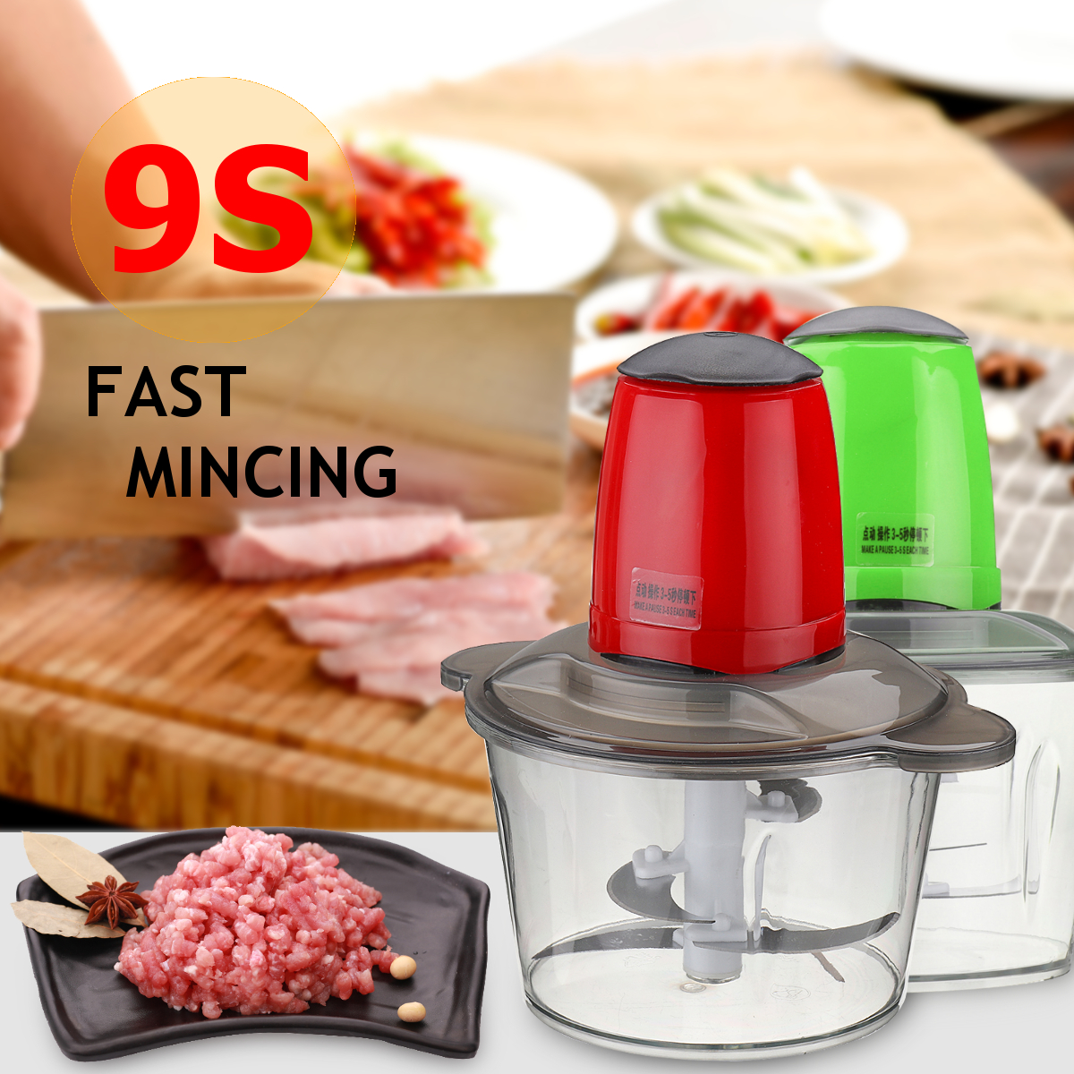 2L EU Plug 4 Blades 220V 50Hz 300W Electric Food Chopper Meat Grinder Household Processor Machine Mute Bearing Detachable Design sx 005 360 degree rotating vehicle general magnetic phone mount holder