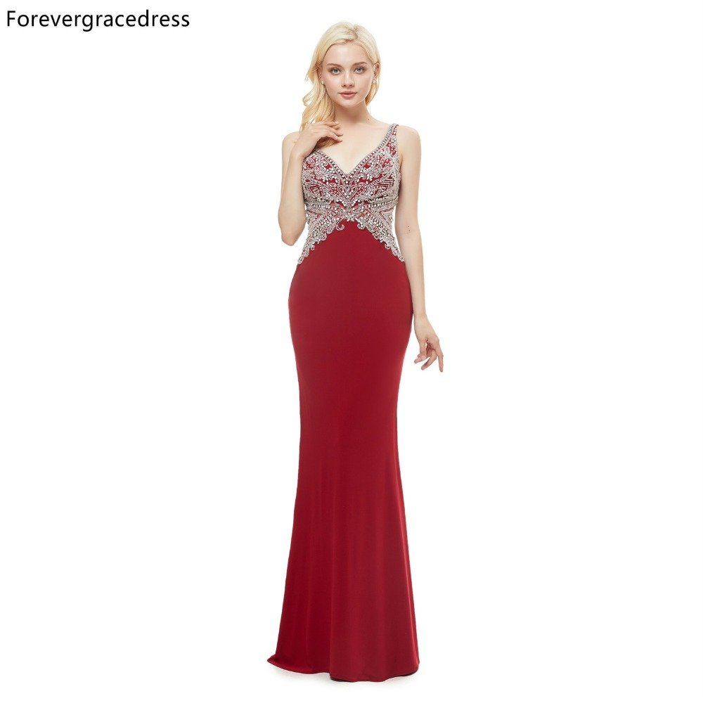 Forevergracedress Real Pictures Red Prom Dresses 2019 Mermaid V Neck Backless Formal Party Gowns Plus Size Custom Made