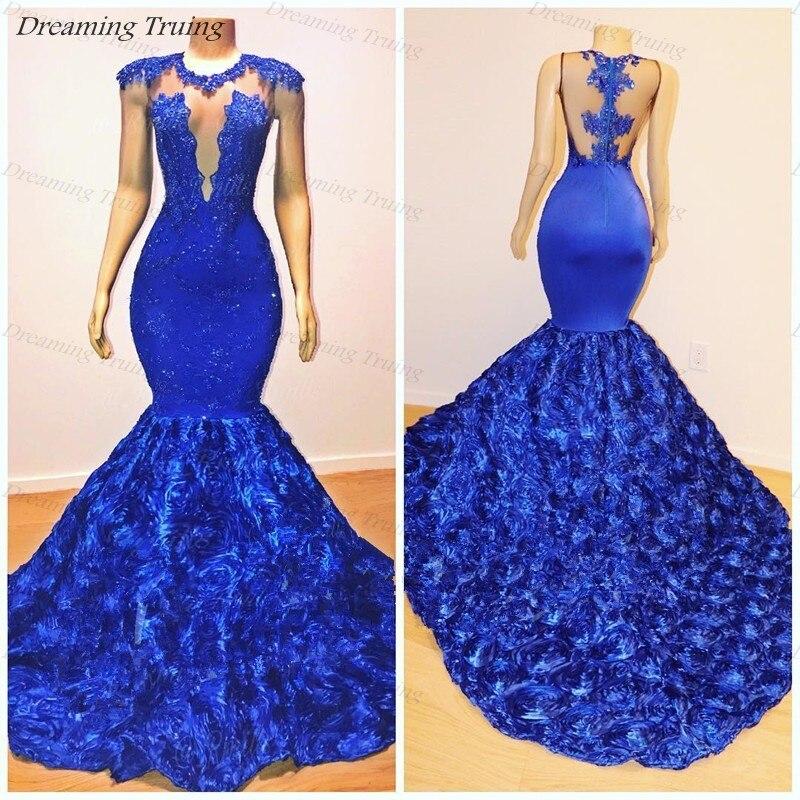 Abendkleider 2019 bleu Royal robes de bal sirène avec Rose fleurs Train Appliques dentelle Illusion robes de soirée robes largos