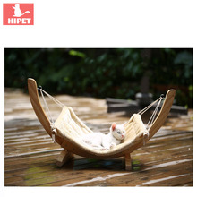 HIPET Wooden Cat Hammock Bed Winter Warm Detachable Solid Wwing Cusion Nest Puppy Kitten Hanging