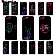 Babaite Neon Art Abstract Lines Black TPU Soft Silicone Phone Cover for iPhone 6S 6plus 7 7plus 8 8Plus X Xs MAX 5 5S XR