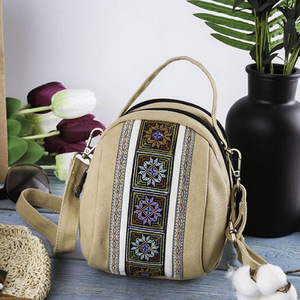 Image 5 - 2020 New Women Messenger Bags National Embroidery Mini Canvas Totes Zipper Mobile Phone Coin Purse Shoulder Bag