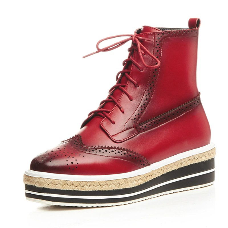 ФОТО Flat with chaussure femme woman casual shoes Spring/Autumn ankle boots Square Toe Full Grain Leather