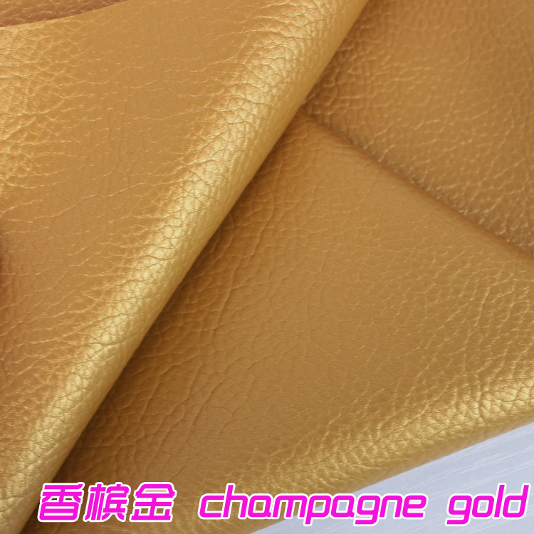 Champagne Gold Big Lychee Pattern Pu Synthetic Leather
