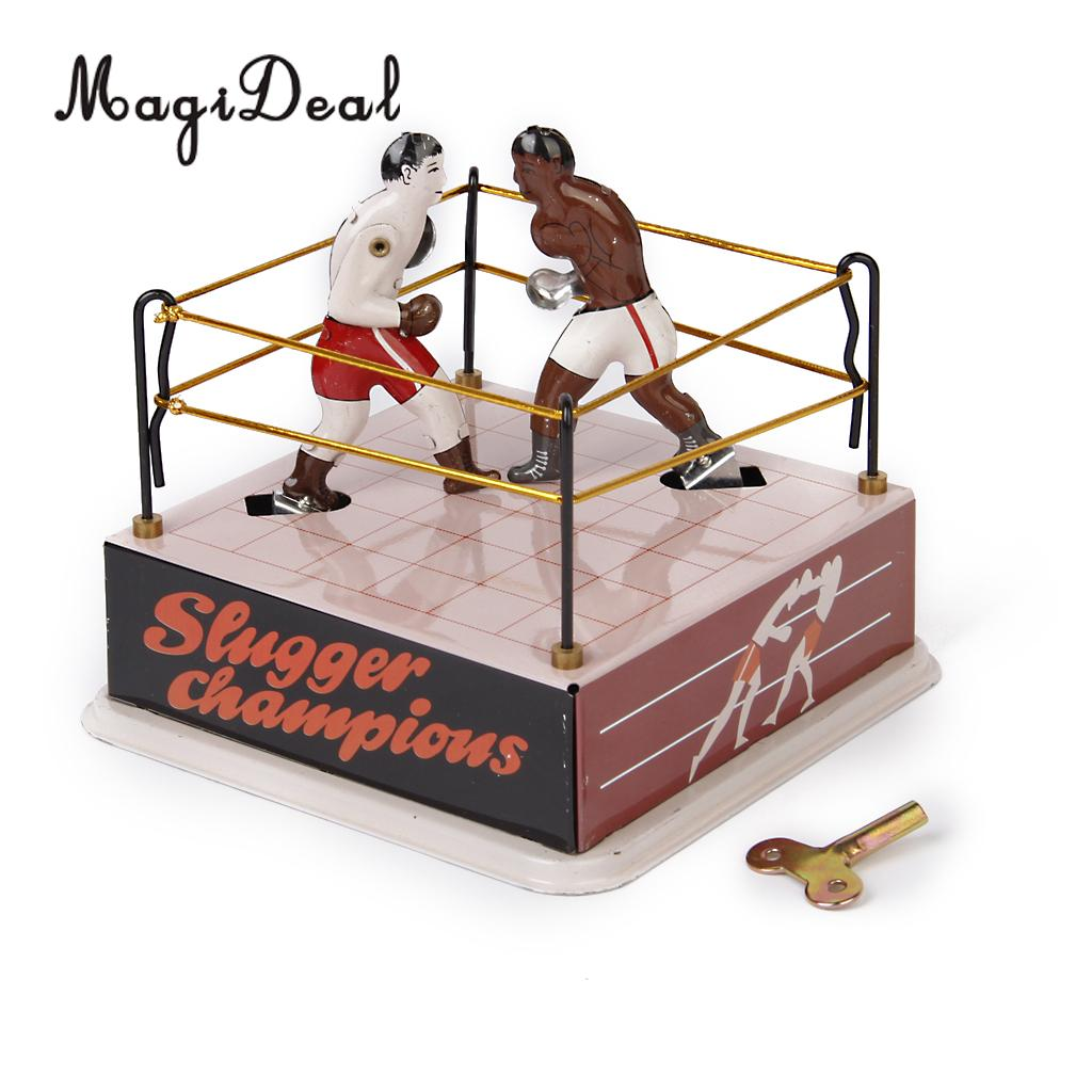 MagiDeal 1Pc Classic Iron Boxing Ring Boxers With Wind-Up Key Tin Toy For Collectible Kids Holiday Time Adults Novelty Gifts