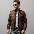 Мужская кожаная мотоцикл натуральной кожи куртка Из Натуральной Кожи куртки обивка хлопок зима теплая пальто мужчины