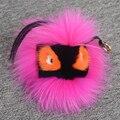 Monstruo de piel auténtica Real llaveros bolso colgante accesorios encanto etiqueta Bolsa De Error Pompón bola redonda mochila llavero