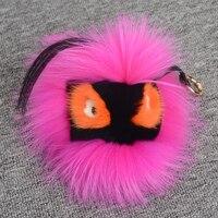 Real fur animal sleutelhanger voor vrouwen handtassen kwastje sleutelhanger pom pom bont ronde monster anime sleutelhangers charms hanger roze groen