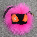 Real genuine fur monster keychains handbag pendant accessories charm tag Bag Bug PomPOm  round ball backpack key chain