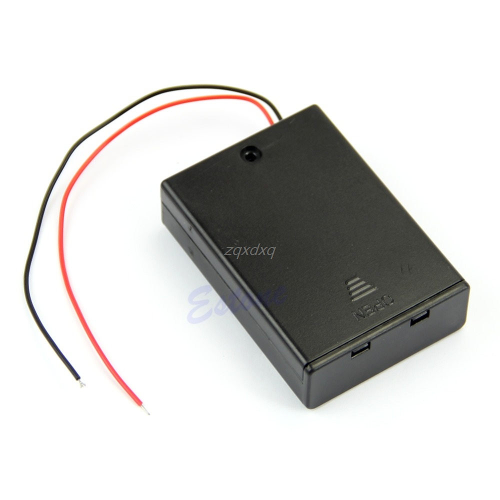 Plastic Hard Storage Holder Case Box For 2 3 4 X AA Battery With Wire Leads Drop Ship Electronics Stocks