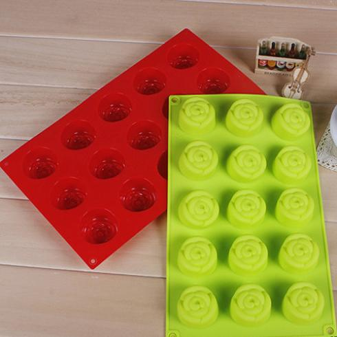 Shenzhen Chen Yao Electronic Technology Co., Ltd Christmas Cake Tools Continuous 15 Rose Mold Silicone Cake Mould Cake Tools Cookie Cutter Cake Decorating Tools Specialized