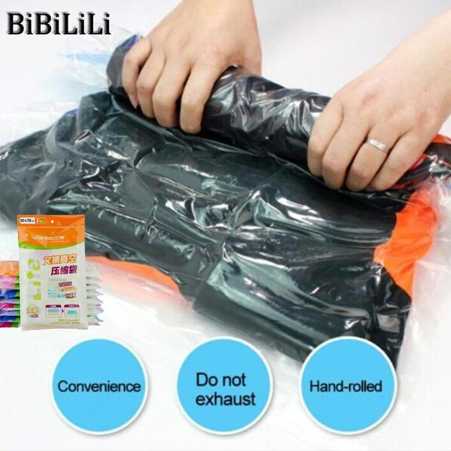 Hot Clothes Compression Storage Bags Hand Rolling Clothing Plastic