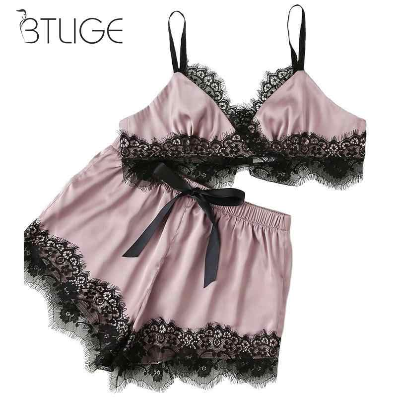 Lingerie Set Sexy Satin Underwear Women Top Shorts V-neck Pajamas Sets Sexy Lace Sleepwear Lingerie Nightwear Satin Cami Top