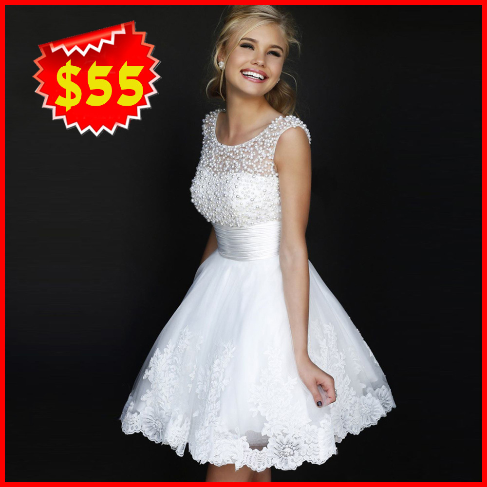 Latest Wedding Gowns 2014: New 2015 White Short Wedding Dresses The Bride Sexy Lace