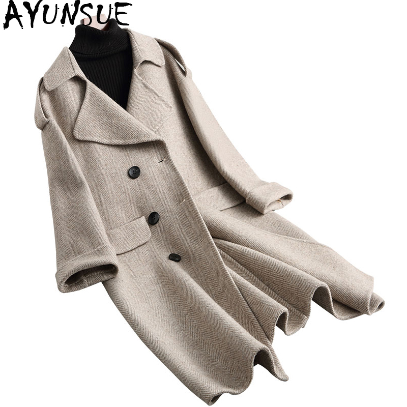 AYUNSUE 2019 Women 96% Wool Coats Winter Jackets Office Lady Double-sided Warm Long Wool Coat Female Spring Autumn 38061 WYQ1755