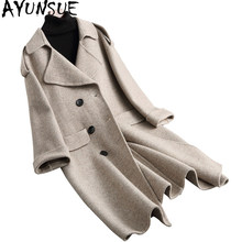 AYUNSUE 2019 Women 96% Wool Coats Winter Jackets Office Lady Double-sided Warm Long Wool Coat Female Spring Autumn 38061 WYQ1755(China)