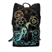 Steinsgate Backpack TIME Backpacks Print Trendy Bag Multi Pocket Student Mens - Womens High quality Sports Bags