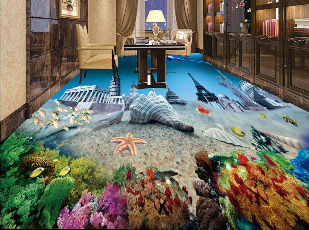 ФОТО 3d floor bathroom wallpaper custom vinyl wallpaper Underwater World Statue of Liberty 3d flooring pvc self adhesive wallpaper