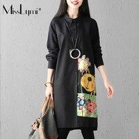 MissLymi XXXL Plus Size Women Long Plaid Shirt Black 2017 Autumn Single Breasted Long Sleeve Cartoon