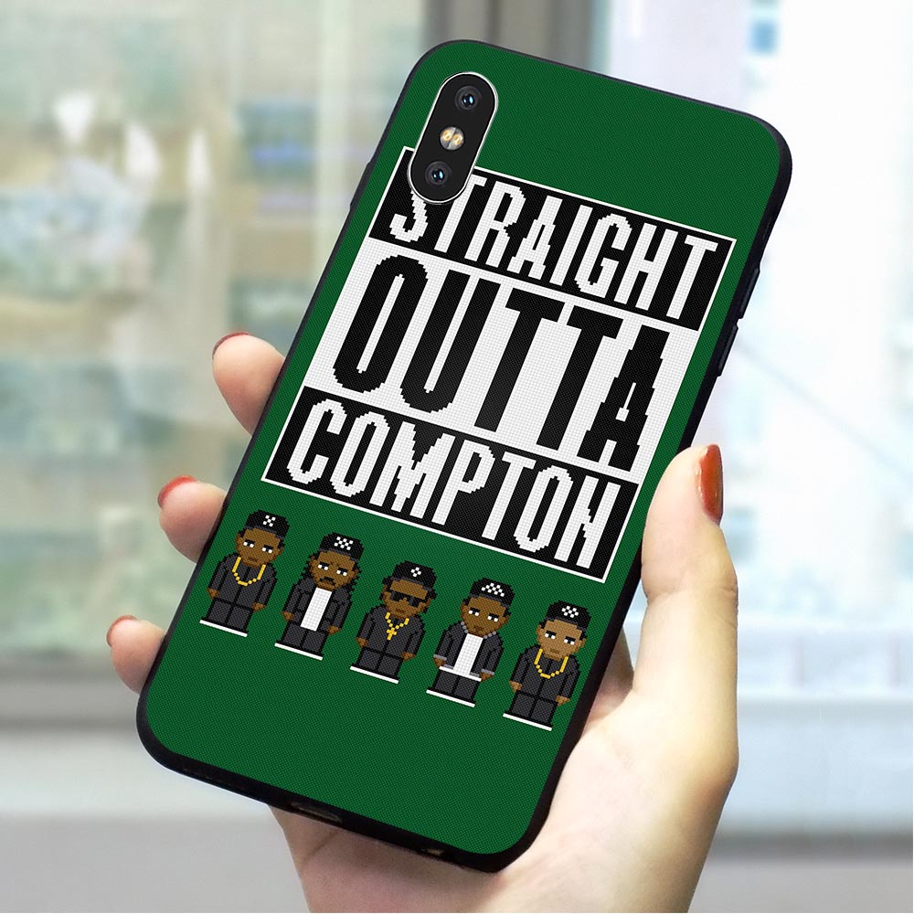 Straight Outta Compton Soft TPU Cover for iPhone Xs Hybrid Phone Case for iPhone Xs XR 5 5s se 6 6s plus 7 8 X Cases Skin in Fitted Cases from Cellphones Telecommunications