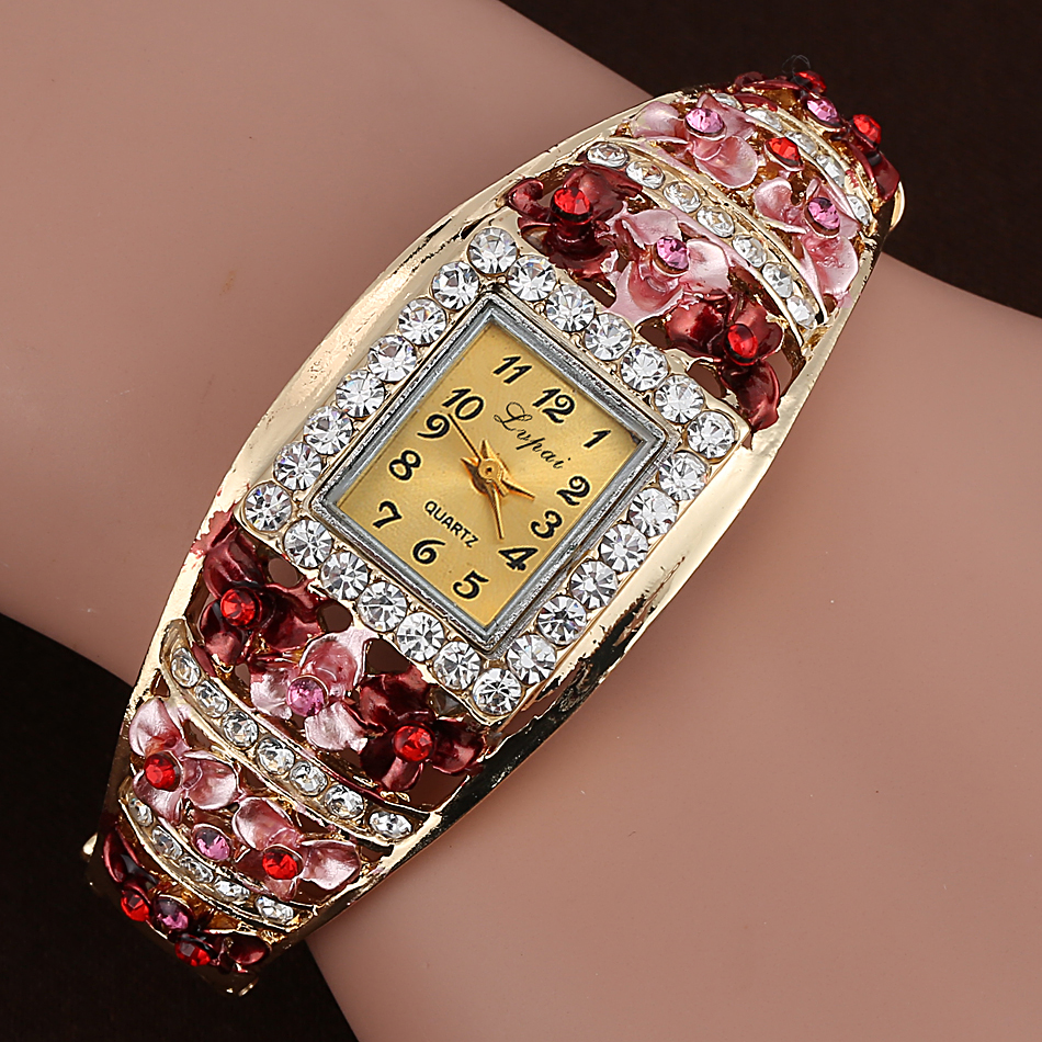 Lvpai New Brand Fashion Women Square Watches Rhinestone