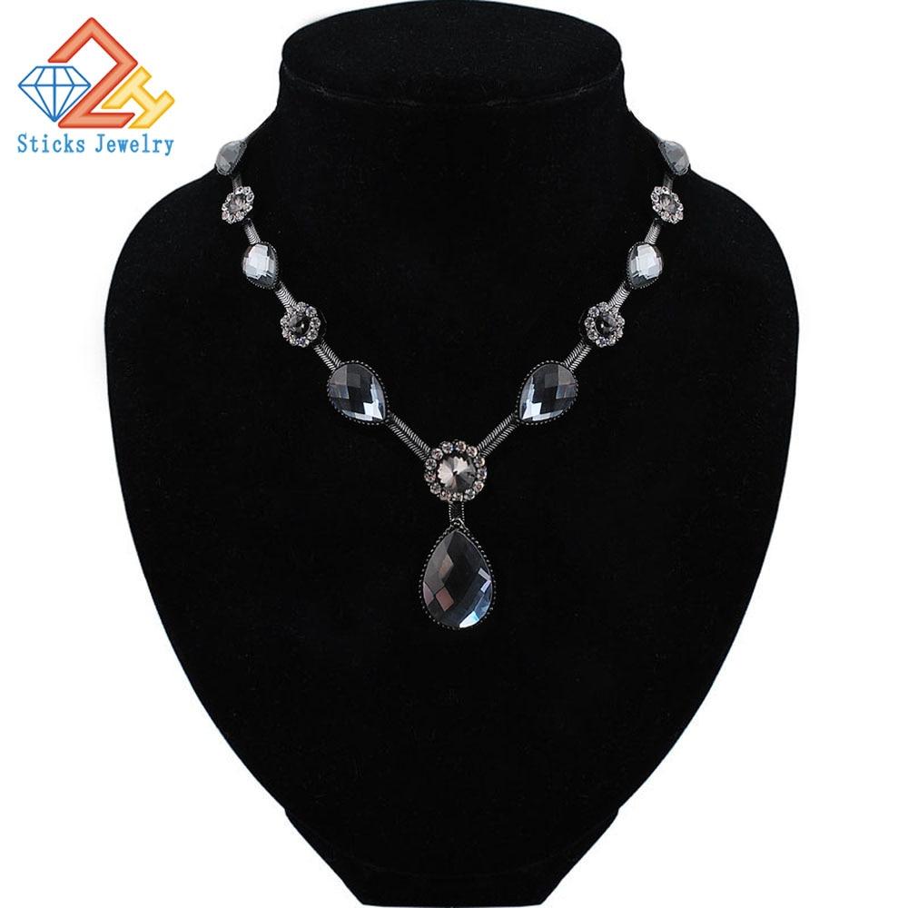 Módní křišťálové náhrdelníky pro ženy v letním stylu černé barvy řetízku drahokamu náhrdelníky šperky pro dárkové slavnosti