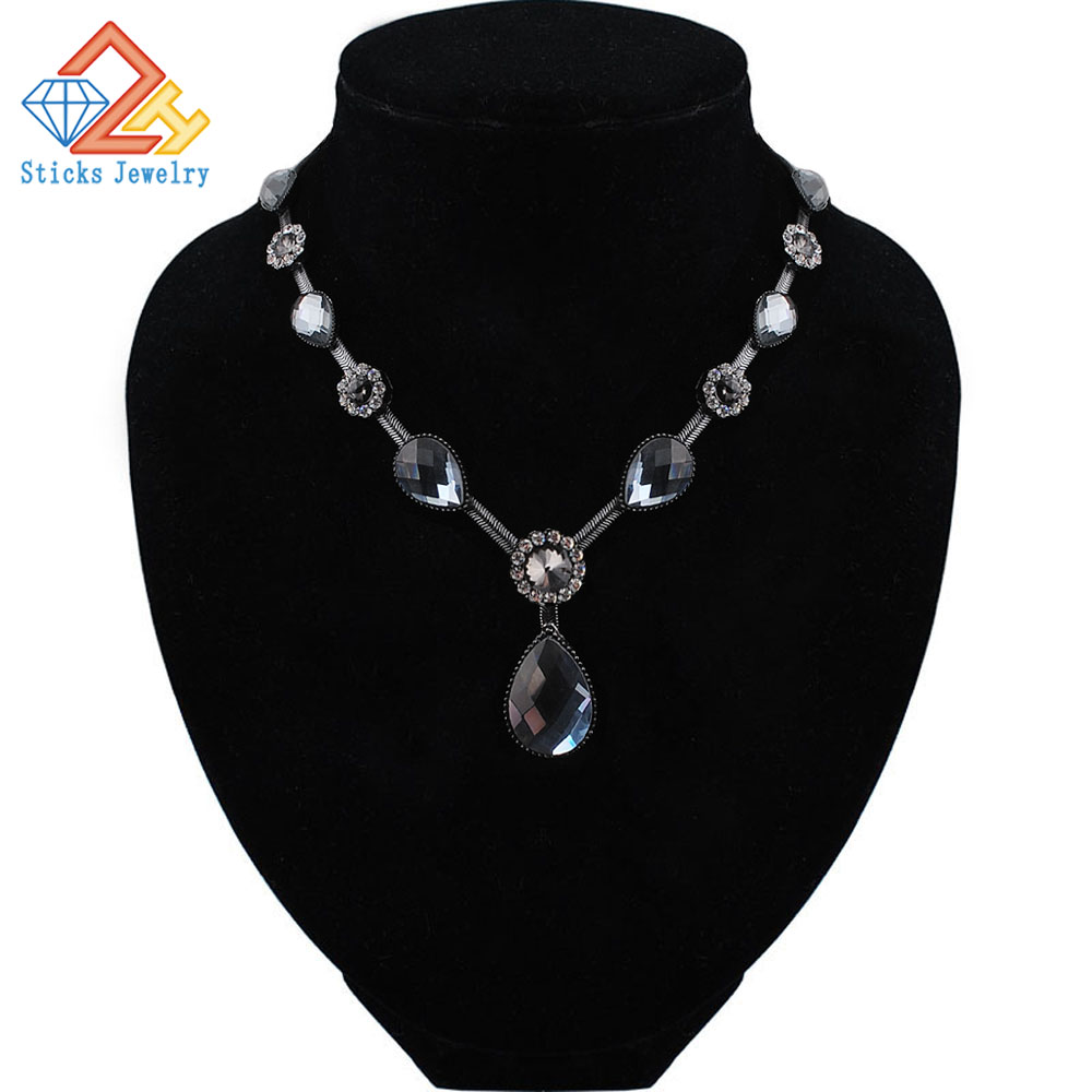 Trendi kristalna ogrlica za žene ljetni stil crna boja lanac ogrlice od najstarijeg zlata nakit za poklon party