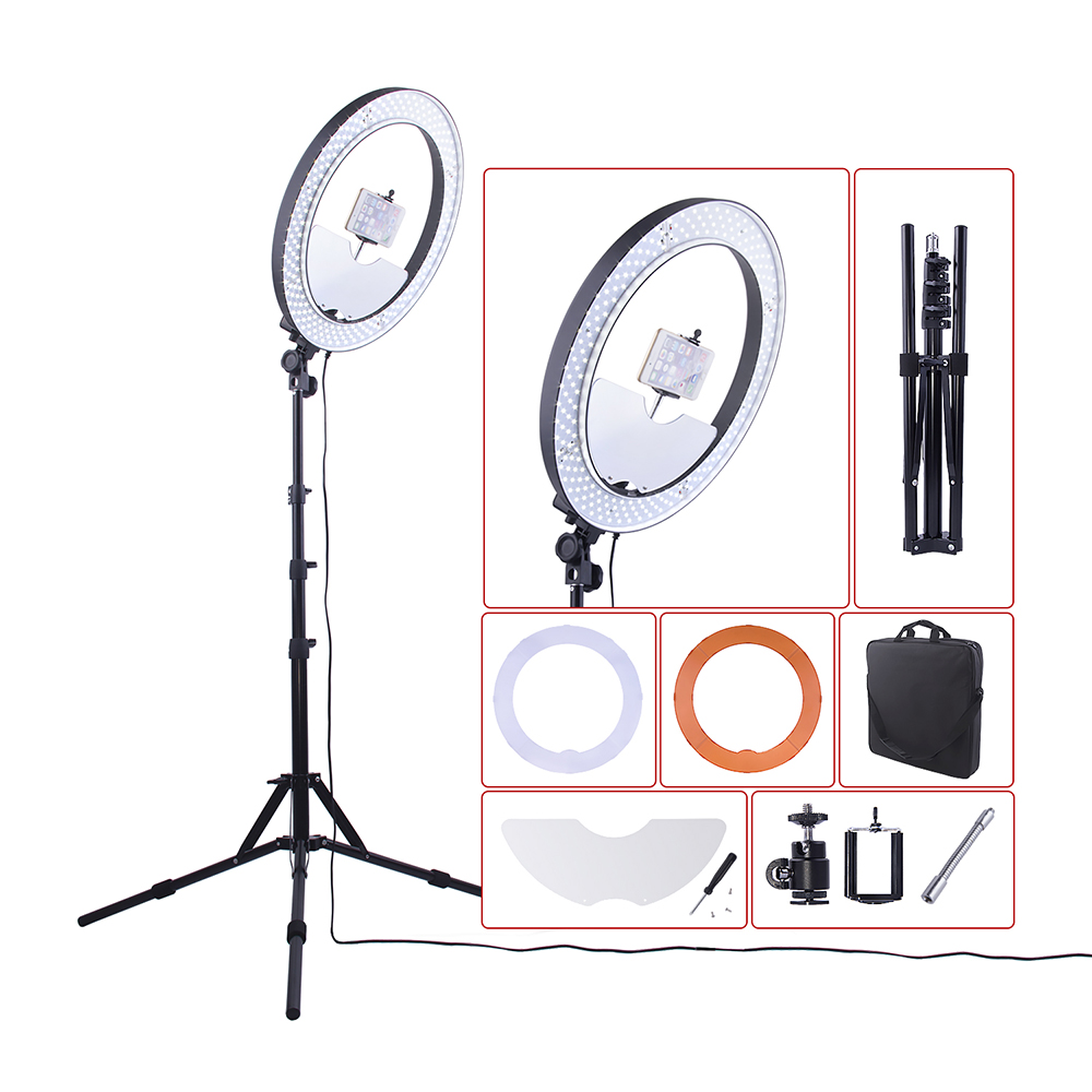 Fusitu 18 5500K LED Dimmable Photo Phone Camera DSLR Video Ring Light Lamp Kit with Light